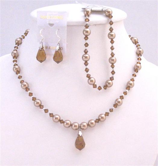 Prom Bronze Dress Teardrop Bronze Pearls & Swarovski Brown Jewelry Set Fashion Jewelry For Everyone Collections