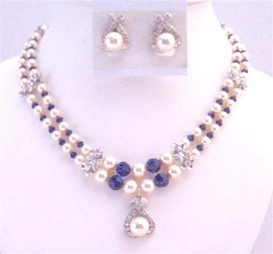 Gift For Mother Double Stranded Necklace Swarovski Ivory Pearls Purple