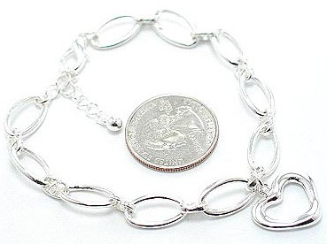 Br49 hollow heart and links bracelet