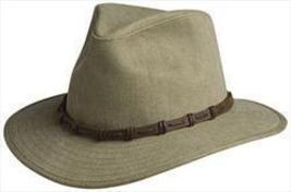 Cov-ver Hats T1015 Heavy Cotton Twill Safari Fedora Leather Band - £30.54 GBP