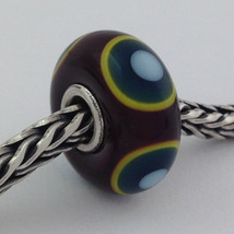 Authentic Trollbeads Murano Green Eye Bead *Retired* Charm 61327, New - $23.74
