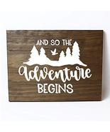 And So The Adventure Begins Solid Pine Wood Wall Plaque Sign Home Decor - $22.28