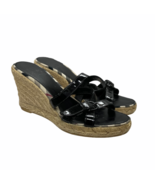 Burberry Nova Check Plaid Espadrille Wedge Sandal Heels Patent Leather S... - $91.99