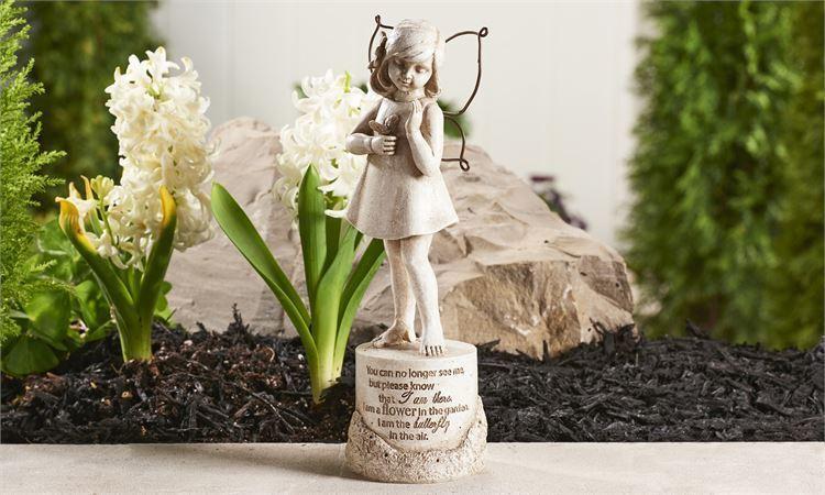 "9.7"" Memorial Design Girl Garden Statue w Sentiment & Textural Detailing"