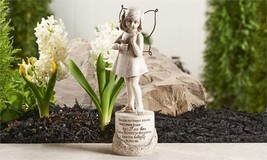 "9.7"" Memorial Design Girl Garden Statue w Sentiment & Textural Detailing"