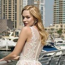 Elegant Lace Wedding Dresses A-line Light Pink Beach Bridal Gown O-Neck Sleevele image 2