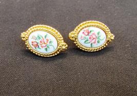 Avon earrings porcelain centers painted roses gold tone border oval - $4.46