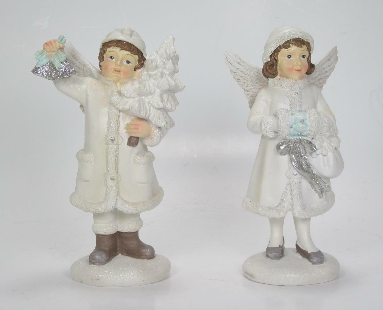 "Primary image for 6"" Children Figurines with Angel Wings Christmas Holiday Tabletop Decor Set of 2"