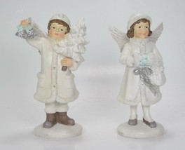 "6"" Children Figurines with Angel Wings Christmas Holiday Tabletop Decor Set of 2 - $21.73"