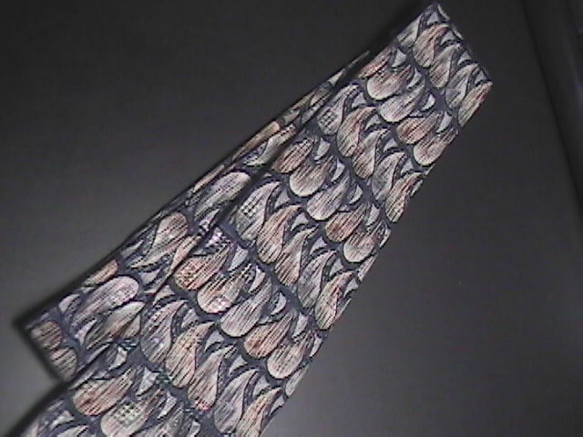 Guy Laroche Diffusion Neck Tie Tear Drop Designs in Browns Greys and Blues Silk