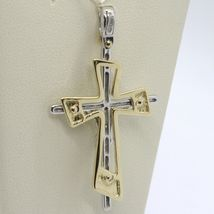 PENDANT DOUBLE CROSS YELLOW GOLD WHITE 750 18K, WITH CHRIST, GLOSSY SATIN image 6