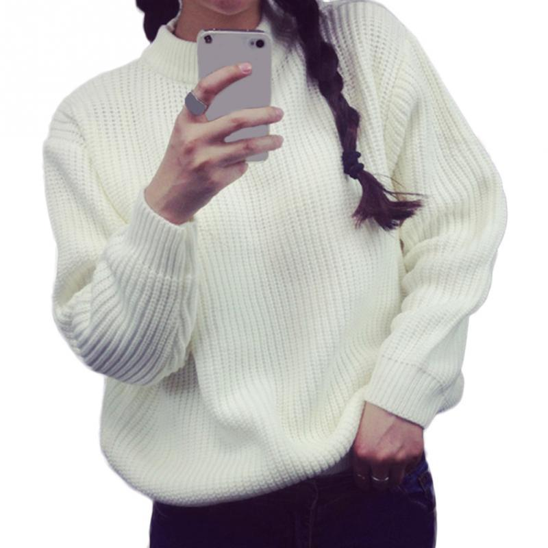 Primary image for Plus Size Autumn Winter Loose Sweater Pullovers Fashion Girls Half-collar Solid