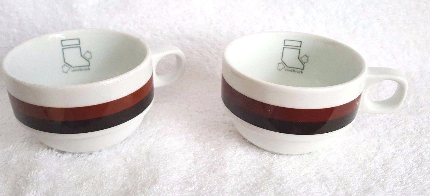 2 Schonwald Germany Espresso Coffee Cup Mug #9487 INNSBRUCK Skiing