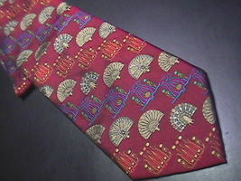 Tie boxelder red with repeating fans etc 22 thumb200