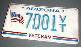 Arizona Veteran License Plate American Flag 7001 VT  Red White and Blue - $8.90