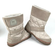 SOREL Womens 12 Glacy Slip On Gray Suede Moon Boots Calf High NL2080-103 - $93.50