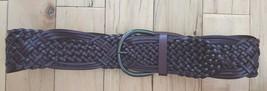 Brown Bonded Leather Women's Macrame Braided Woven Belt Dark Brown Sz Small - $14.50