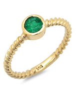 .4 ct Natural Emerald Solitare Ring set in 14k Solid Gold - $445.00