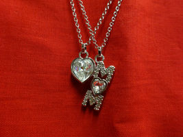 Authentic SWAROVSKI 2 Strand Silver Crystal Necklace Heart Mom Swan Signed w BOX image 7