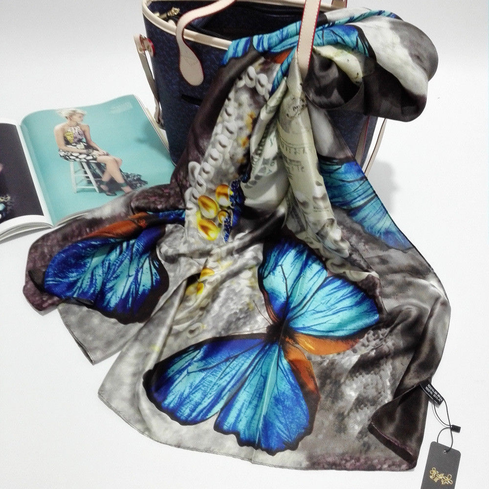 Primary image for Silk Scarf Shawl Autumn Genuine Long Pure Printed Beach Cover-ups Cape