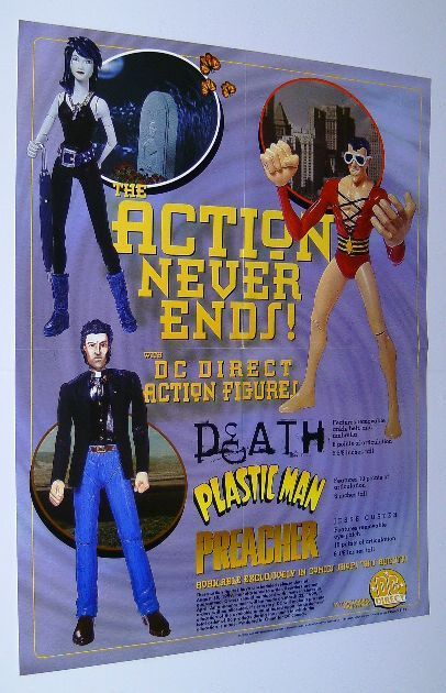 DC DIRECT ACTION FIGURES POSTER:PLASTIC MAN/DEATH/PREACHER