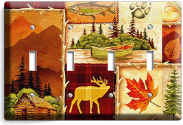 Hunting Cabin Fishing Moose Patchwork 4 Gang Light Switch Wall Plates Room Decor - $19.99