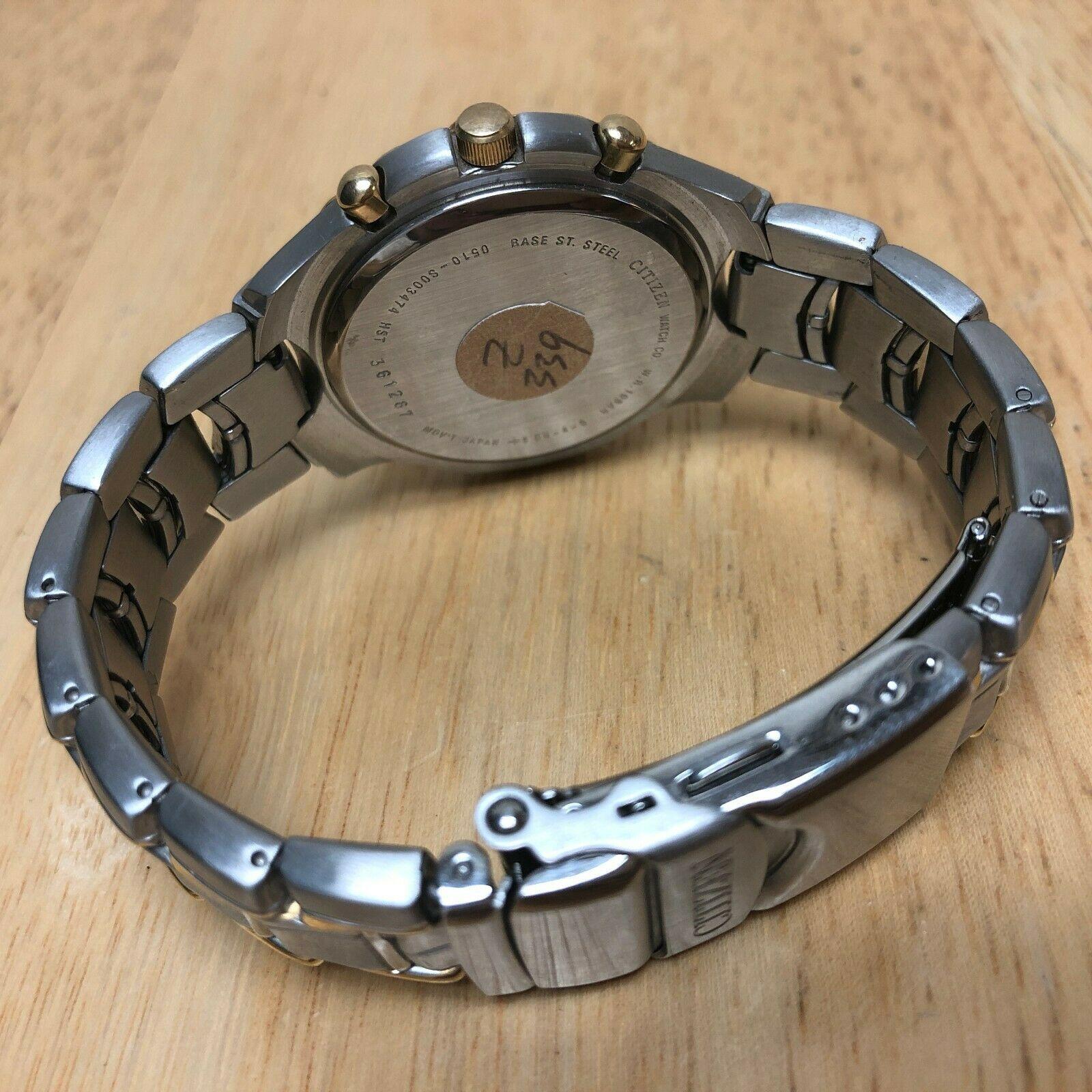 Unused Citizen 0510 Men Dual Tone Analog Quartz Chrono Watch Hours~Date~New Batt image 4
