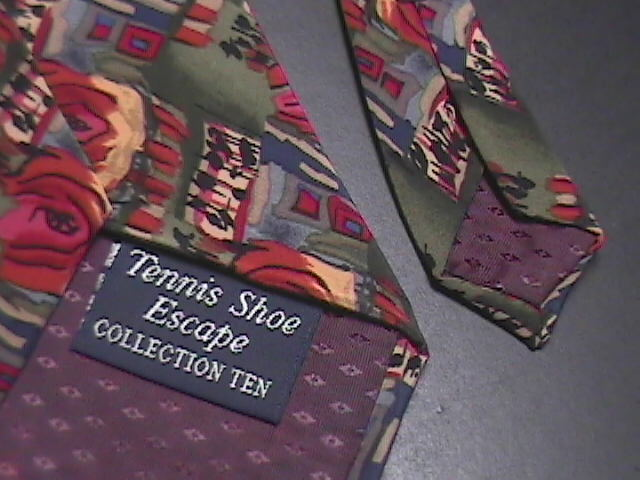 J Garcia Neck Tie Collection 10 Tennis Shoe Escape Stonehenge Greens and Reds