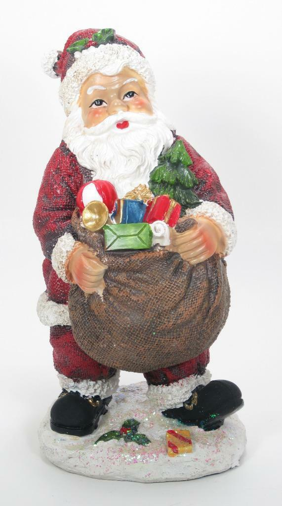 "Primary image for 8.5"" Tradidtional Portly Santa Claus Figurine with Toy Sack Christmas Decor"