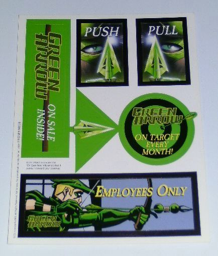 DC Comics Green Arrow promotional stickers/decals set: Never for sale to public!