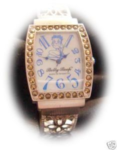 BETTY BOOP 36 Crystals Blue Dial Quartz Barrel Dress Silver Watch with metal box Bonanza