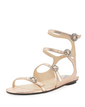 Jimmy Choo Naia Metallic Flat Sandal Crystal Buckles Rose Gold Sz 39.5 $695 - $445.50