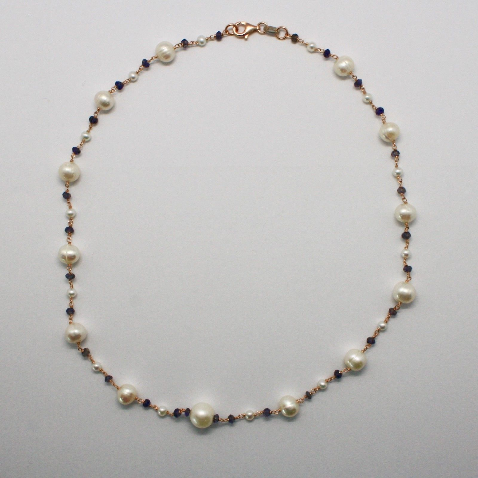 925 STERLING SILVER NECKLACE WITH WHITE PEARLS FW AND IOLITE MADE IN ITALY