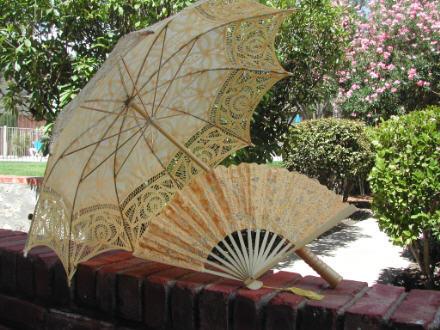 Full Lace Parasol Umbrella w/lace fan - STUNNING!