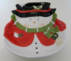 Snowman Christmas Serving Bowl Black Hat Green Scarf Red Jacket Midwood Brands - $14.84