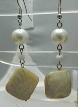 VTG Silver Tone Ivory Colored Abalone Shell Pearl Dangle Earrings - $9.90
