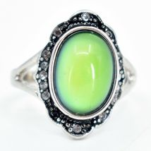 Vintage Inspired Silver & Black Crystal Accent Color Changing Cabochon Mood Ring image 5