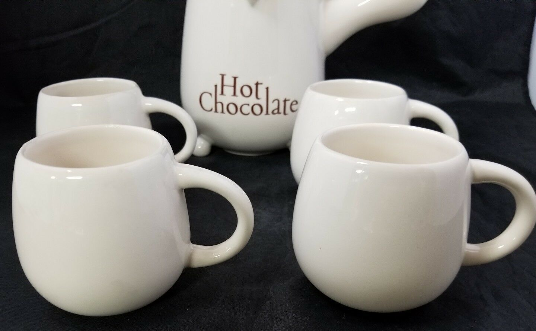 French Cafe Ceramic Hot Chocolate Serving Pitcher & 4 Mugs Set of 5 White image 11