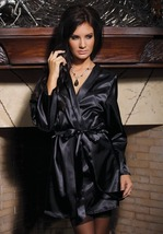 Coquette Lingerie Black Satin Robe with Shawl C... - $28.95