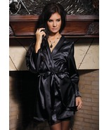 Coquette Lingerie Black Satin Robe with Shawl Collar, Sash and Rear Cent... - $28.95