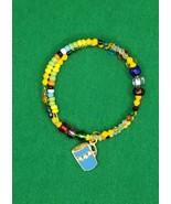 Rainbow Blue Cup Charm Expandable Bangle Bead Bracelet One Size Fits Mos... - £10.48 GBP
