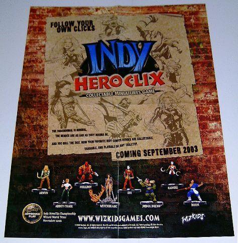 Hero Clix poster: Shi/Judge Dredd/Danger Girl/Witchblade/Hellboy/Kabuki/Heroclix