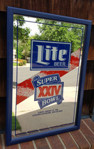 "Vtg Super Bowl XXIV-Miller Lite Beer-15""x23""-Bar/Pub Mirror-Blue Wood Fr... - $70.11"
