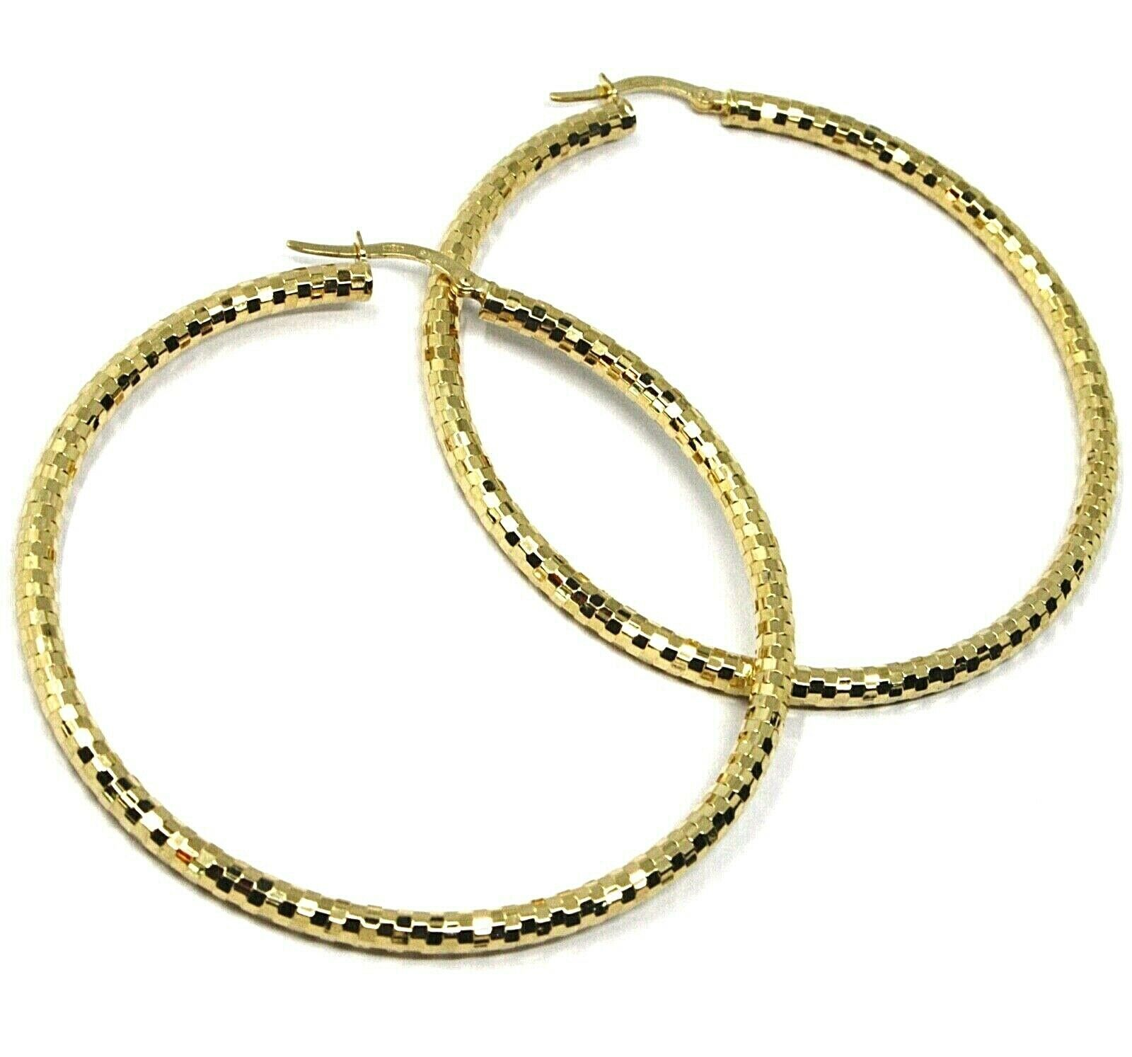 18K YELLOW GOLD CIRCLE HOOPS TUBE 3mm, BIG EARRINGS 5.5cm, SHINY FACETED SQUARES