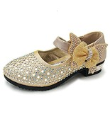 YING LAN Little Big Girl Glitter PU Leather Mary Jane Shoes Gold 27 - $20.80