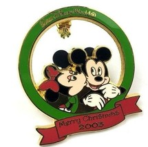 Disney WDW 2003 Merry Christmas Kissing Mistletoe Mickey Minnie  Holiday Pin Le - $24.74