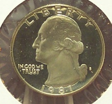 1981-S Washington Deep Cameo Proof Quarter Typ 1 #0689 - $3.19