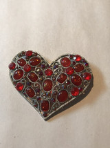 Rare Vintage Silver Tone Rhinestone Heart Brooch Pin Jewelry - $9.90