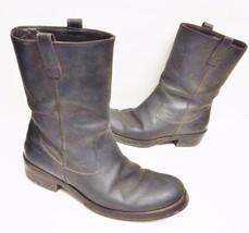 SALVATORE FERRAGAMO Mens Boots Leather Cowboy Biker Italy Brown 7.5 2E R... - $299.95