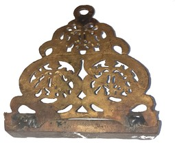 Judaica Vintage Bronze Hanukkah Oil Menorah North Africa Bird Ornament Wall Hang image 3